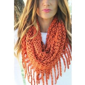 Accessories - Orange and brown loose knit fringe circle scarf